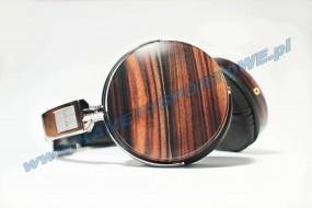 SŁUCHAWKI NAGŁOWNE C1 mahoniowe drewno, składany system nośny, chromowane wykończenie